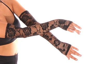Long Lace Gloves / Sleeves (PAIR) - BLACK