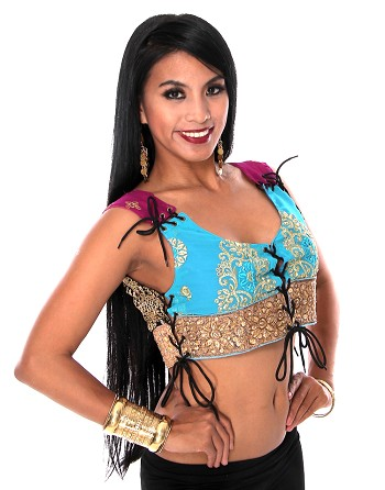 Embroidered Tribal Lace-Up Choli Top - AQUA TURQUOISE