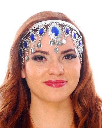 Arabesque Metal Head Piece with Coins & Jewels - SILVER / BLUE