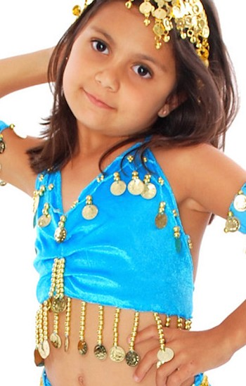 Little Girl's Velvet Belly Dance Costume Top - TURQUOISE