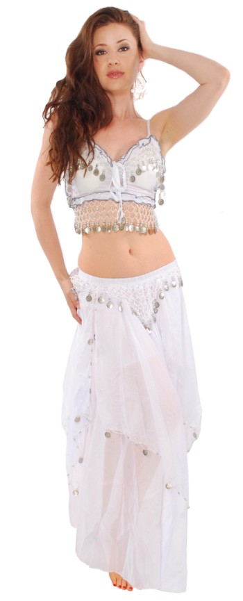2-Piece Belly Dancer Costume with Coins - WHITE / SILVER
