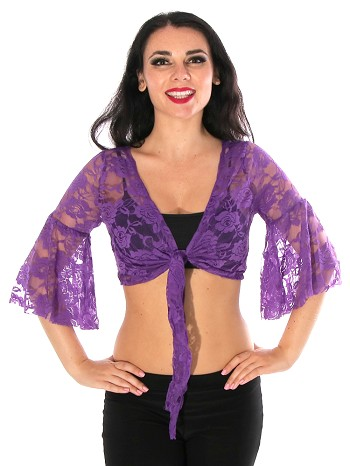 Lace Bell Sleeve Choli Tribal Belly Dance Top - PURPLE