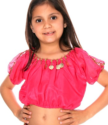 Kids Size Belly Dance Bollywood Costume Top with Coins - ROSE PINK