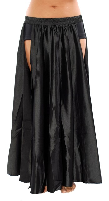Satin Panel Circle Skirt for Belly Dancing - BLACK