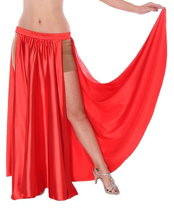 Satin Panel Circle Skirt for Belly Dancing - RED