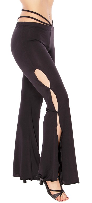 Bell Bottom Dance Pants with Hip Accents - BLACK