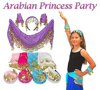 Little Girls Arabian Princess Costume Party Accessory Kit: 10-Pack