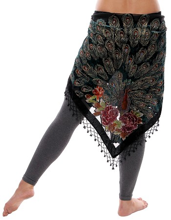 Ornate Velvet Peacock Shawl Scarf with Glass Beads - BLACK MULTI