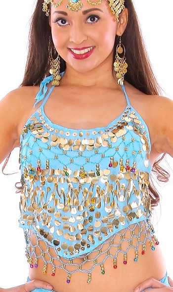 Chiffon Halter Top with Paillettes & Bells - BLUE TURQUOISE