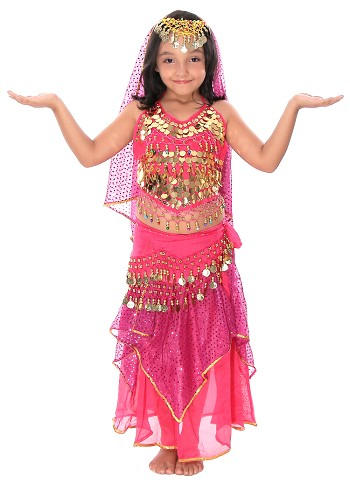 Little Girl Size Belly Dancer Bollywood Costume with Head Veil - ROSE PINK