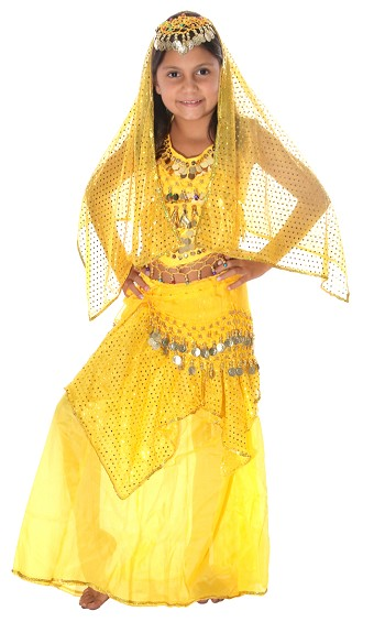 Little Girls Belly Dancer Bollywood Costume with Head Veil - YELLOW