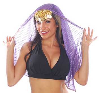 Chiffon Sparkle Dot Head Veil with Gold Trim - PURPLE
