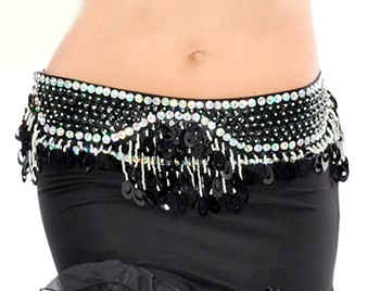 Sequin Beaded Belly Dance Belt with Teardrop Paillettes - BLACK / SILVER