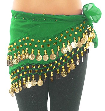 Kids Size Chiffon Hip Scarf with Coins -  GREEN / GOLD