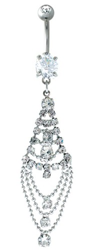 Tiered Drape Pierced Belly Ring - CRYSTAL