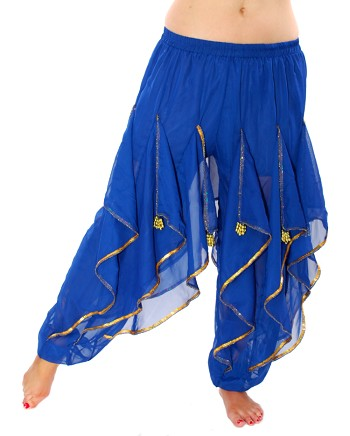 Endless Wave Bollywood Ruffle Belly Dance Harem Pants - BLUE / GOLD