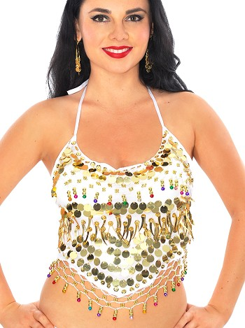 Chiffon Belly Dance Bollywood Costume Halter Top with Paillettes & Bells - WHITE