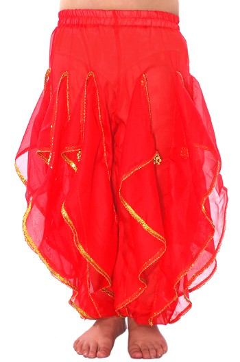 KIDS Endless Wave Bollywood Ruffle Harem Pants - RED