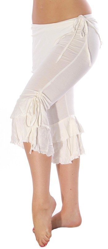 Comfy Tribal Fusion Capri Pants with Removable Skirt - EGGSHELL WHITE