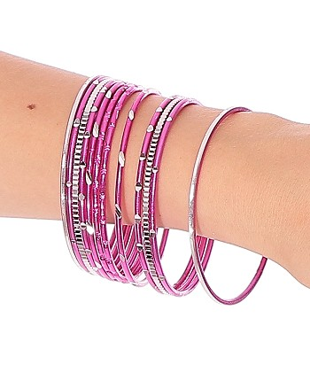Etched Metal Bangles SET of 12 - FUCHSIA