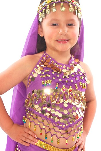 Little Girls Belly Dance Bollywood Costume Halter Top with Paillettes & Bells - PURPLE