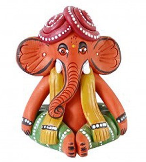 Hand-made Terracotta Tribal Ganesha Elephant Figurine