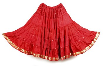10 Yard Sari Fabric Belly Dance Skirt with Gold Trim - RED