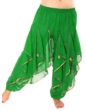 Endless Wave Bollywood Ruffle Belly Dance Harem Pants - GREEN / GOLD