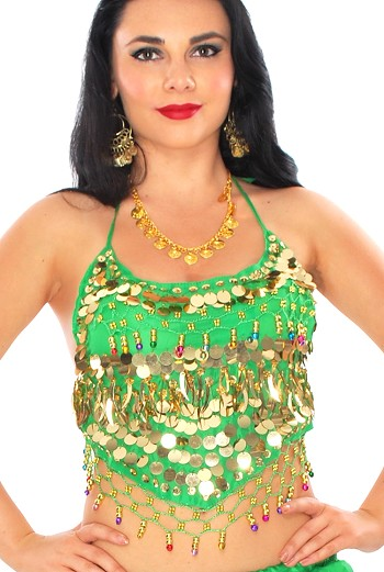 Chiffon Belly Dance Bollywood Costume Halter Top with Paillettes & Bells - GREEN