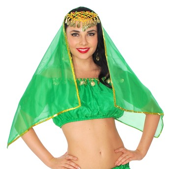 Chiffon Head or Face Veil with Gold Trim - GREEN