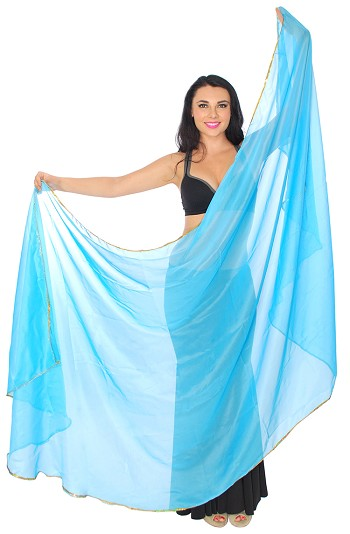 3 Yard Semi-circle Chiffon Veil with Gold Sequin Trim - BLUE TURQUOISE
