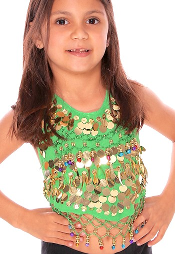 Little Girls Belly Dance Bollywood Costume Halter Top with Paillettes & Bells - GREEN