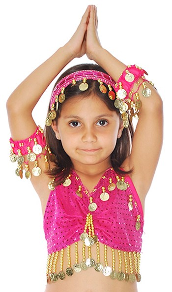 Kids Size Sparkle Dot Belly Dance Costume Top with Coins - FUCHSIA / GOLD