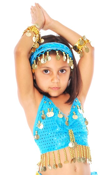 Kids Size Sparkle Dot Belly Dance Costume Top with Coins - TURQUOISE / GOLD