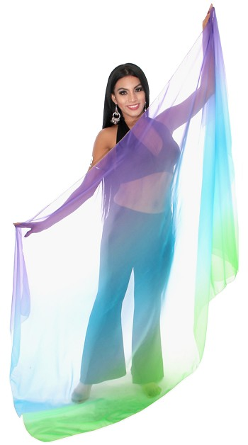 3-Yard Chiffon Ombre Belly Dance Veil - PURPLE / TURQUOISE / GREEN