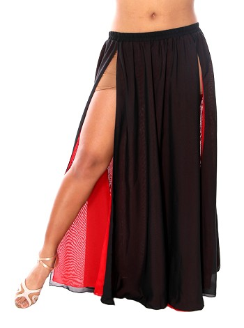 Reversible 2-Layer Chiffon Belly Dance Skirt - RED / BLACK