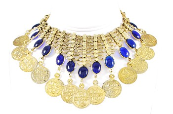 Belly Dance Coin Necklace with Glass Charms - GOLD / BLUE