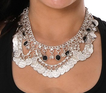 Coin Belly Dance Necklace with Bells and Glass Charms - SILVER / BLACK