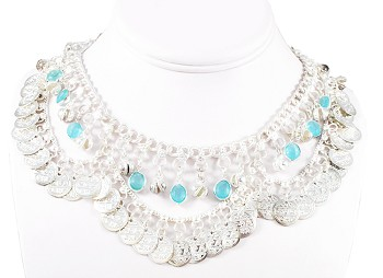 Coin Belly Dance Necklace with Bells and Glass Charms - SILVER / TURQUOISE