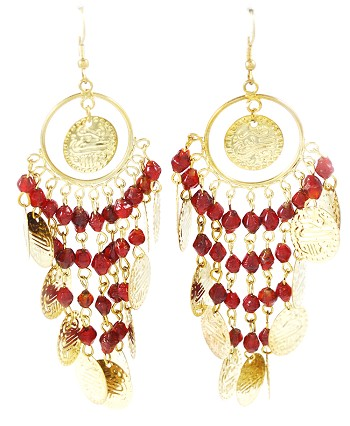 Belly Dance Costume Coin Earrings with Glass Beads - ANTIQUE GOLD / RED