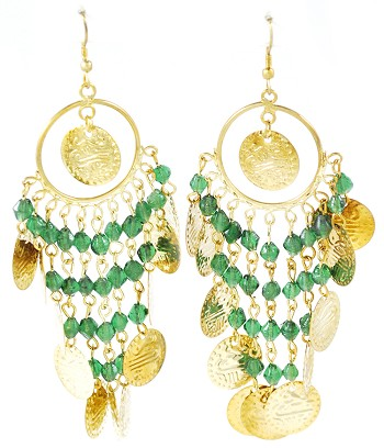 Belly Dance Costume Coin Earrings with Glass Beads - ANTIQUE GOLD / GREEN