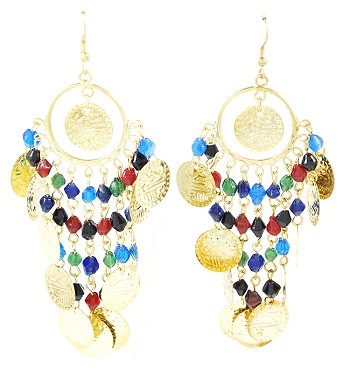 Belly Dance Costume Coin Earrings with Glass Beads - ANTIQUE GOLD / MULTI