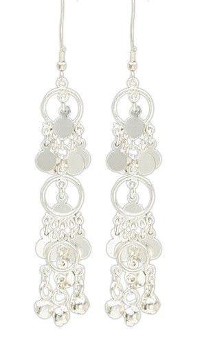 Triple Hoop Drop Earrings with Discs and Bells - SILVER