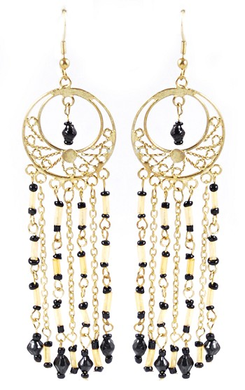 Gold Filigree Beaded Dangle Belly Dance Earrings - BLACK