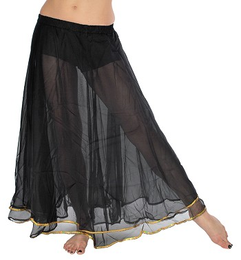 2-Layer Chiffon Belly Dance Costume Skirt with Trim - BLACK / GOLD