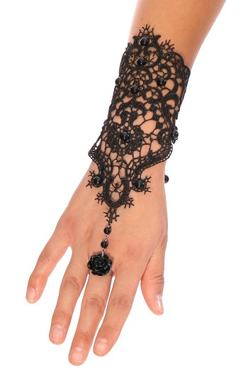 Black Lace Slave Bracelet Glove with Black Rose Ring