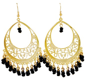 Gold Filigree Hoop Earrings with Beaded Accents - BLACK