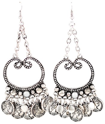 Silver Tribal Cabaret Chain & Coin Drop Earrings