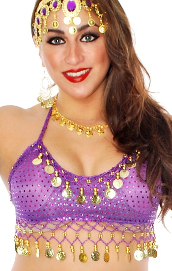 Sparkle Dot Belly Dance Costume Top with Coins - PURPLE