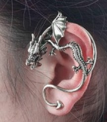 Petite Size Crouching Dragon Gothic Ear Cuff Earring - ANTIQUE SILVER